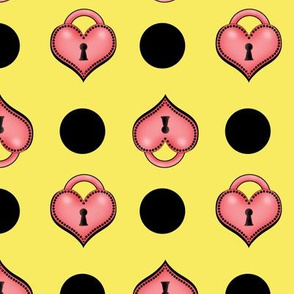 heart locket dots yellow