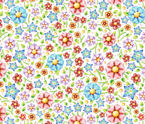 Ditsy Millefiori Floral fabric by patriciasheadesigns on Spoonflower - custom fabric