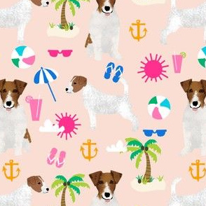jack russell beach palm tree summer cute dogs pet dog fabric
