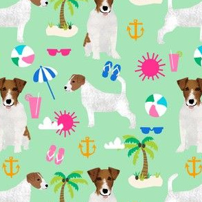 jack russell terrier dog fabric cute pets pet dog fabric palm tree summer sunshine tropical dog lovers fabric