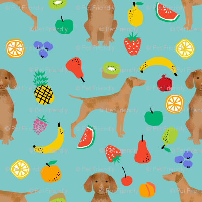 vizsla dog fruit summer cute fun pet dog vizslas dog fabric