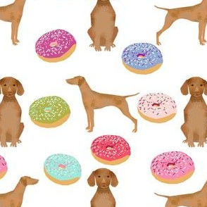 vizsla dog donuts food novelty cute dogs sweet pets fabric
