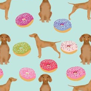 vizsla dogs cute dog food donuts pastel cute funny novelty dog fabric