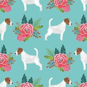 jack russell flowers florals mint cute dog fabric jack russell terrier owners will love this fabric
