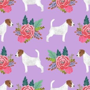 jack russell flowers cute dog with flowers pet terrier with florals purple dog fabric