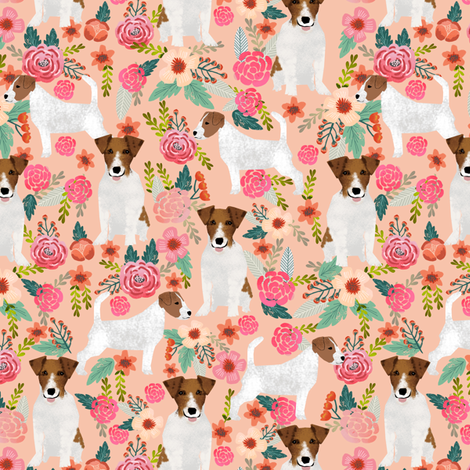 jack russell terrier cute florals peach flowers cute dogs pet dogs pets fabric fabric by petfriendly on Spoonflower - custom fabric