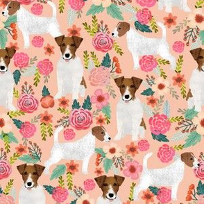 jack russell terrier cute florals peach flowers cute dogs pet dogs pets fabric