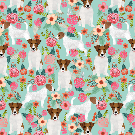 jack russell terrier fabric mint flowers florals cute vintage flowers fabric by petfriendly on Spoonflower - custom fabric