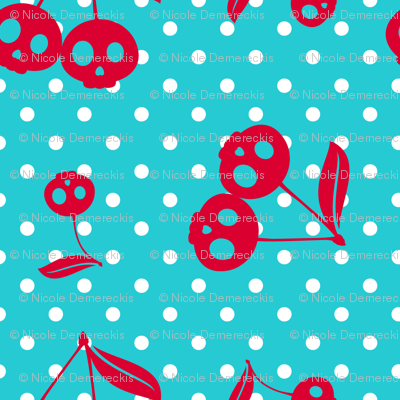 Dots with Cherry Skulls Turq Red