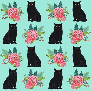 floral cats black cat cute painted vintage flowers florals