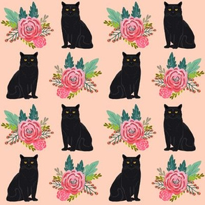 cute black cat vintage florals floral blossoms painted flower peach coral pink cute flowers for cat ladies fabric