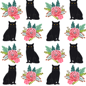 cat flowers black cat florals vintage painted flowers cute cat fabric for cat ladies