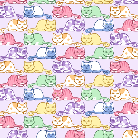 Pastel Purrs - Lilac fabric by siya on Spoonflower - custom fabric