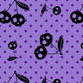 Dots with Cherry Skulls Purple