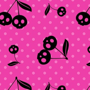 Dots with Cherry Skulls Pink