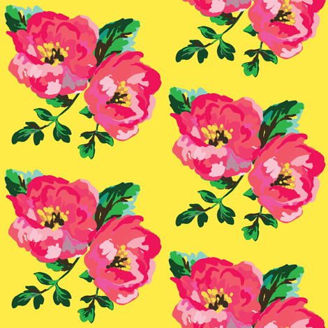 Happy Day Floral - Bright Yellow fabric by shopcabin on Spoonflower - custom fabric