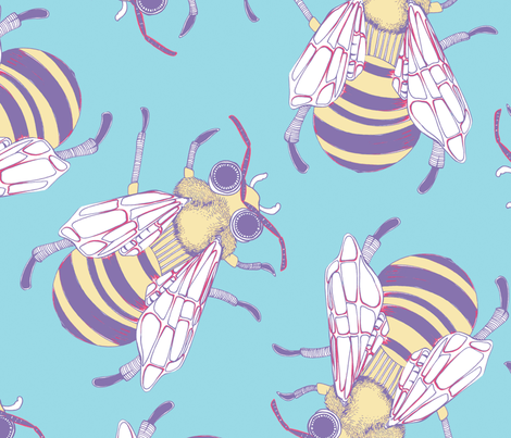 Giant Bee in Turquoise fabric by robynie on Spoonflower - custom fabric