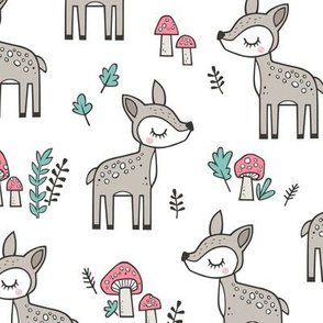 Sweet  Woodland Deer and Mushrooms Forest on White