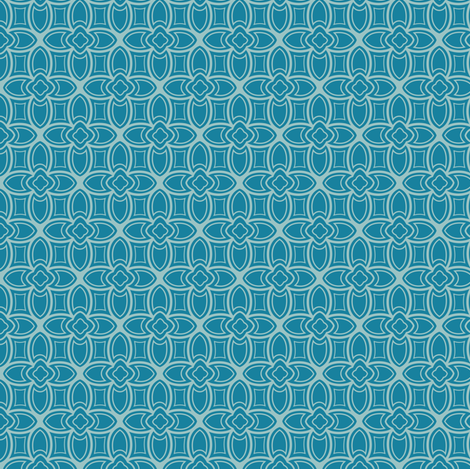 Geometric Nouveau in blues fabric by lburleighdesigns on Spoonflower - custom fabric