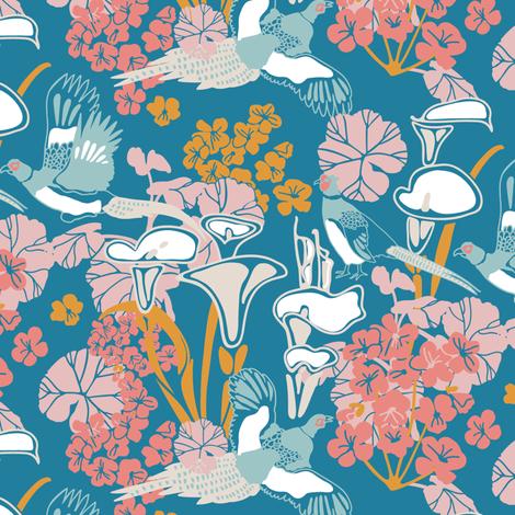 Pheasants in blue fabric by lburleighdesigns on Spoonflower - custom fabric