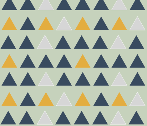 Triangles - navy mustard and grey on mint || by sunny afternoon fabric by sunny_afternoon on Spoonflower - custom fabric