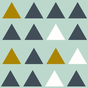 Triangles - navy mustard and grey on mint || by sunny afternoon