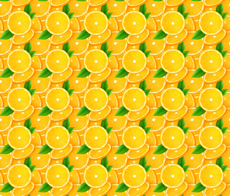 Orange slices with leaves fabric by art_of_sun on Spoonflower - custom fabric