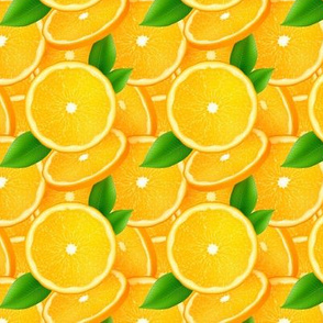 Orange slices with leaves