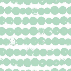 Circles and rows cool Scandinavian style dots brush strings gender neutral mint green LARGE