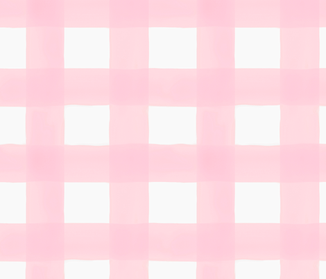 Watercolor Buffalo Check // Light Pink fabric by willowlanetextiles on Spoonflower - custom fabric
