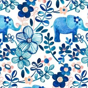Little Blue Elephant Watercolor Floral on White