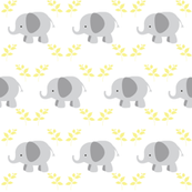 Elephants in row - gray yellow leaves