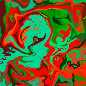 BN9 - Abstract Marbled Mystery  in Greens - Turquoise - Orange - Maroon - Medium Scale