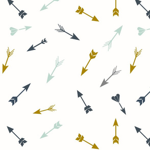 Scattered arrows, navy, mustard, mint || by sunny afternoon
