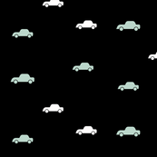Cars - monochrome with mint, black cars, baby boy, modern || by sunny afternoon