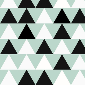 Mint triangles - large, black and white, monochrome with mint, geometric || by sunny afternoon