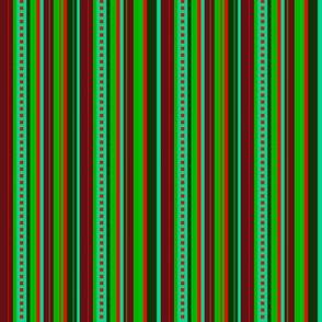 BN9 - Narrow Variegated Stripes in Greens - Rust - Orange