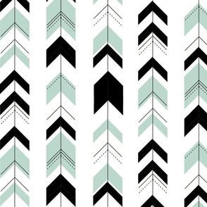 Arrows monochrome with mint - geometric, black and white, dusty mint, modern, trendy, gender neutral, baby, kids || by sunny afternoon