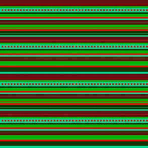 BN9 - Narrow Variegated Stripes in Greens - Turquoise - Maroon - Orange