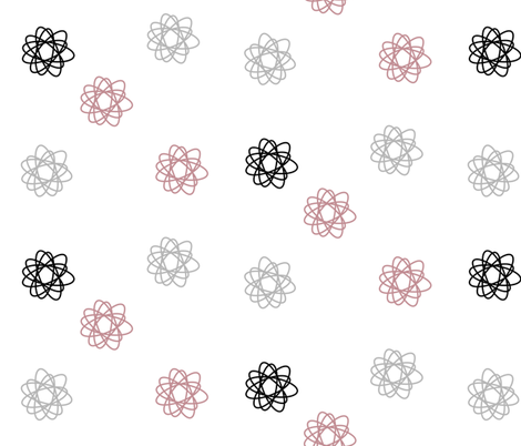 Rozeta flowers - monochrome with dusty pink || by sunny afternoon  fabric by sunny_afternoon on Spoonflower - custom fabric