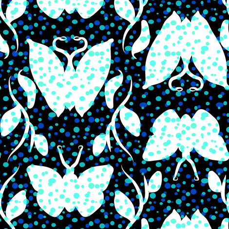 Blues Butterfly Column fabric by eclectic_house on Spoonflower - custom fabric