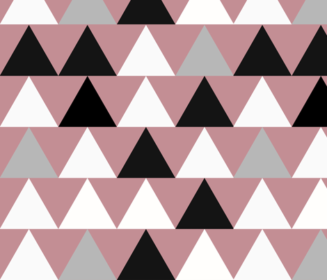 Triangles - large triangles, monochrome on dusty pink || by sunny afternoon fabric by sunny_afternoon on Spoonflower - custom fabric