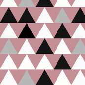 Triangles - large triangles, monochrome on dusty pink || by sunny afternoon