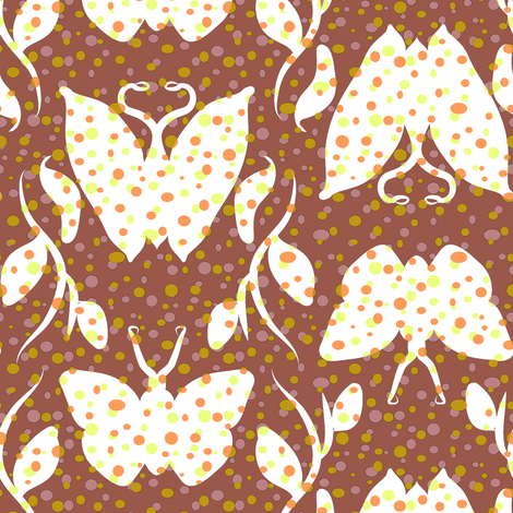 Dotty Butterfly Column on Cocoa fabric by eclectic_house on Spoonflower - custom fabric