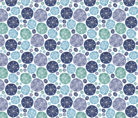 white snowflakes in blue circles fabric by swoldham on Spoonflower - custom fabric