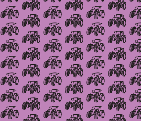 Tractors Lilac with Black fabric by babyitspersonal on Spoonflower - custom fabric