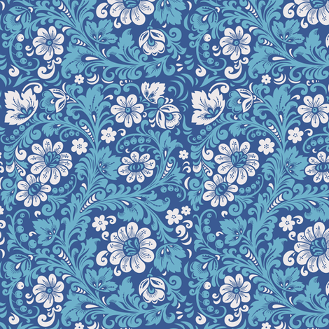 Folk Gzhel fabric by penguinhouse on Spoonflower - custom fabric