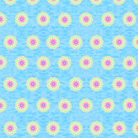 Smudge_Flower_Colour_Wash_Aqua_Small fabric by karwilbedesigns on Spoonflower - custom fabric