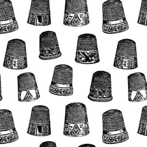 Vintage Thimbles in B&W