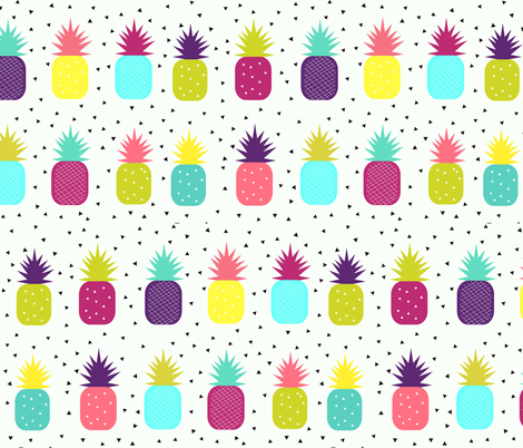 Pineapples - bright, colourful, neon, tropical fruit, geometric, baby, kids || by sunny afternoon fabric by sunny_afternoon on Spoonflower - custom fabric
